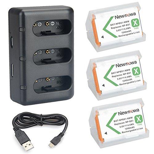 NP BX1 Newmowa Batería de Repuesto (3-Pack) y Kit de Cargador para Micro USB portátil para Sony NP-BX1 y Sony DSC-RX100, DSC-RX100 II, DSC-RX100M II, DSC-RX100 III