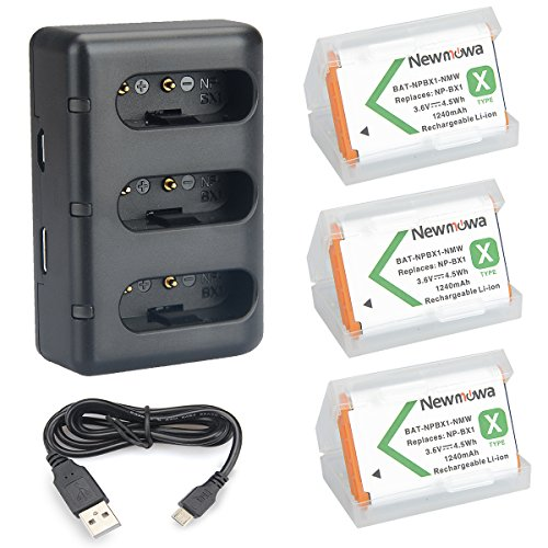 Newmowa Ersatz Akku NP-BX1 (3er Pack) und tragbar Micro USB Ladegerät Kit für Sony NP-BX1 / M8 und Sony Cyber-Shot DSC-RX100, DSC-RX100 II, DSC-RX100M II, DSC-RX100 III