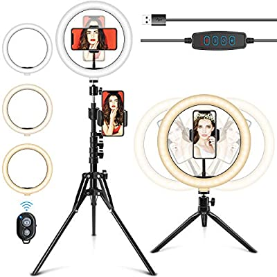 Selfie Ring Light with Stand, 10.2'' LED Ring Light with Stand & Phone Holder Camera Desktop Phone Ringlight with Tripod Selfie Light Ring for iPhone/Laptop/Video Recording/Makeup/YouTube/TikTok from JAXWQ