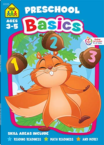 School Zone - Preschool Basics Workbook - 64 Pages, Ages 3 to 5, Colors, Numbers, Counting, Matching, Classifying, Beginning Sounds, and More