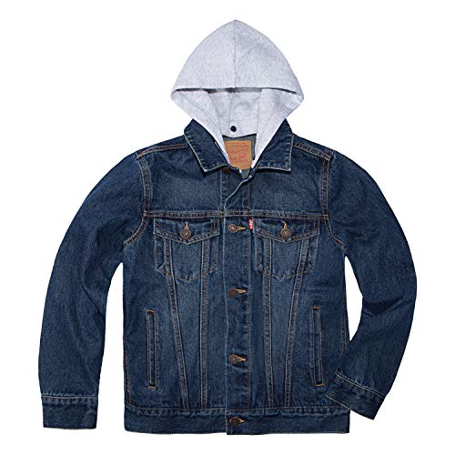 Levi's Boys' Big Denim Trucker Jacket, Pacific/Hooded, XL