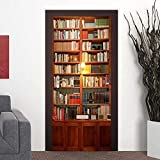 Wallflexi Door Vintage Bookcase Home Decoration Wall Art Murals Decals Living Room Nursery Restaurant Hotel Café Office Décor Removable Self-Adhesive Stickers, Vinyl, Multicolour, 200 x 88 x 0.03 cm