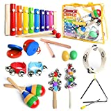 SMART WALLABY Toddler Musical Instruments Set with Xylophone. 15 Pcs. Kids Wooden Toy Percussion Set with a...