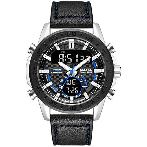 JTTM Relojes Hombre Reloj Militar Deportivos Digital Impermeable LED Cronometro Calendario Fecha Electrónico Reloj Grandes De Pulsera De Analógico Cuarzo Casual,Black Blue