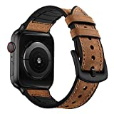 OUHENG Compatible with Apple Watch Band 44mm 42mm, Sweatproof Genuine Leather and Rubber Hybrid Band Strap Compatible with iWatch Series 6 5 4 3 2 1 SE, Brown Band with Black Adapter