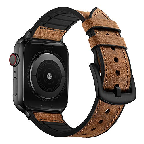 OUHENG Compatible with Apple Watch Band 42mm 44mm, Sweatproof Genuine Leather and Rubber Hybrid Band Strap Compatible with iWatch Series 6 5 4 3 2 1 SE, Brown Band with Black Adapter