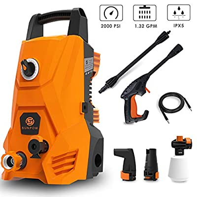 SUNPOW Electric Pressure Washer, Portable Power Washer Machine 2000 Max PSI 1.32 GPM with 2 Nozzles, Spray Gun, Hoses, Detergent Tank, for Cleaning Homes, Cars, Decks, Driveways, Patios