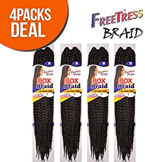 FreeTress Large Box Synthetic Hair Crochet Braids, #4 (4-Pack)