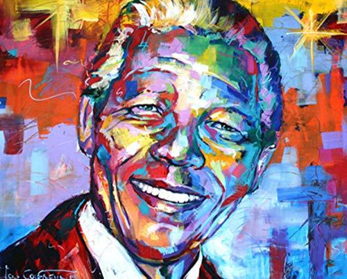 IJBSDJI DIY Malen Nach Zahlen Kits Leinwand Ölgemälde Pinsel Und Acrylpigment Set Erwachsene Anfänger 16X20 Zoll-Smiley Mann (Ohne Rahmen)