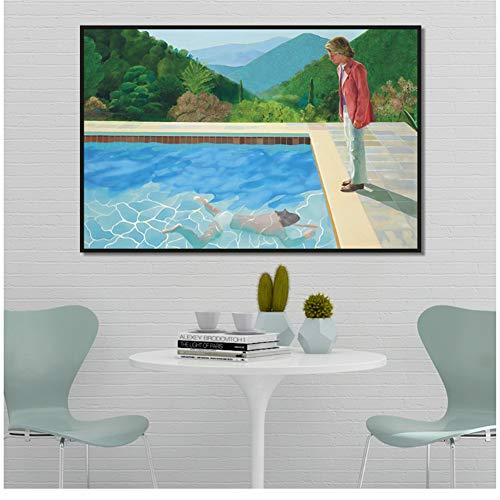 A&D Hockney Pool mit Zwei Figuren Leinwand Home Decor Wandposter und Drucke Kunst Bild Wohnzimmer Drucke Druck auf Leinwand -50x100cm Kein Rahmen