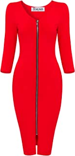 Women's Sophisticated Front Zip 3/4 Sleeve Bodycon Midi Dress by Tom's Ware