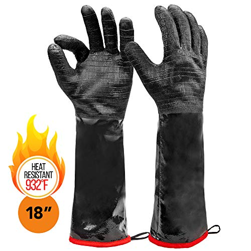 "Heat Resistant BBQ Gloves, Long Sleeve, Textured Grip to Handle Wet, Greasy or Oily Foods Fire and Food Safe Turkey Fryer Oven Mitts for Smoker, Grills and Barbecue (Medium 18"")"