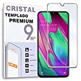 REY Protector de Pantalla Curvo para Samsung Galaxy A40, Blanco, Cristal Vidrio Templado Premium, 3D / 4D / 5D