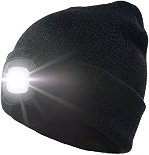 Winter Hat, 4 LED Winter Hat LED Hat Knit Hat Knit Beanie LED Light Hat Light Beanie Warm Hat Light Warm Hat Headlamp in Winter Night for Outdoor Sports Running Skiing Hiking Camping Cycling (Black)