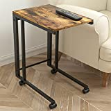 J JACKCUBE DESIGN Side End Tables with Rolling Casters, Vintage Couch Table for Coffee Laptop Tablet, with Steel Frame & Wheels, C Shaped Table for Living Room, Bedroom, Rustic Brown- MK515A