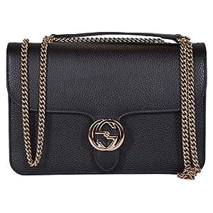 Fashion Shopping Gucci Women's Black Leather 510304 Interlocking GG Crossbody Purse Handbag