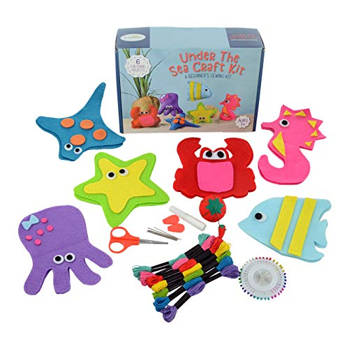Jueybean Kid Craft Felt Kit - 6 Cute Sea Animals Beginners Sewing Kits - Little Kids Ages 7 to 12 - Easy Childrens First Sew Kit - Great for Travel - Fun Beginning DIY Crafting for Girls and Boys