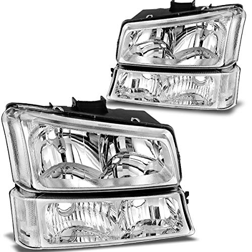 OEDRO Headlight Assembly Kit Compatible with 2003-2007 Chevy Silverado & 2003-2006 Chevrolet Avalanche 1500 2500 3500 2500HD 3500HD Chrome Housing Headlamp