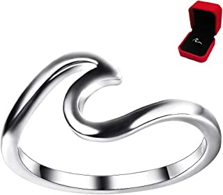 Jamieya 925 Sterling Metal Silver Wave Ring for Women Size 6-10 with Exquisite Ring Box