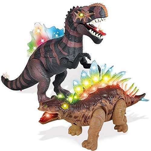 2 Pack Electronic Walking Dinosaur Toy with LED Light Up Eyes, Roaring...