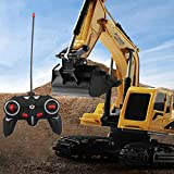 Remote Control Excavator, Effulow 1/24 6CG 4WD Track Excavator Construction Toy, 2.4Ghz Alloy Parts RC Hydraulic Excavator Toys for Boys Girls Enthusiast, Fast Delivery [ USA in Stock ]