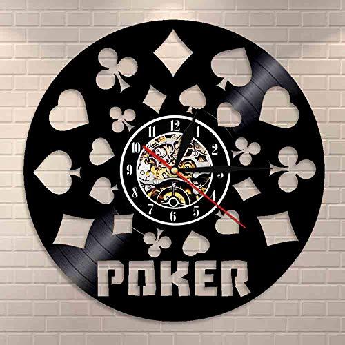 BFMBCHDJ Poker King Spielkarten Schallplatte Schwarz Hängende 3D Wanduhren LED Licht beleuchtet modernes Design Poker Liebhaber Geschenk