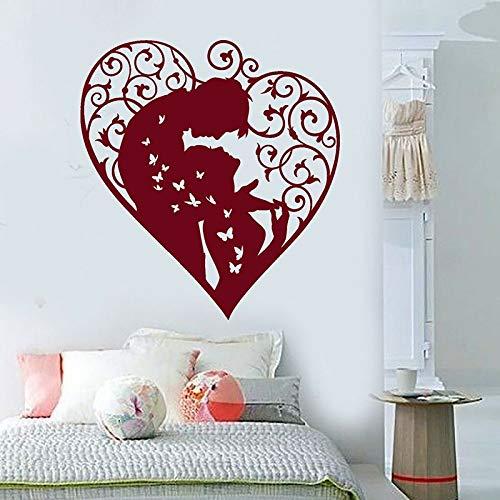Pareja tatuajes de pared corazón amantes del amor hombre y mujer mariposa puertas y ventanas pegatinas de vinilo dormitorio sala de estar decoración del hogar arte