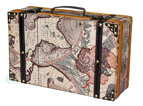 Vntiquewise - Maleta antigua con mapa del mundo envejecido