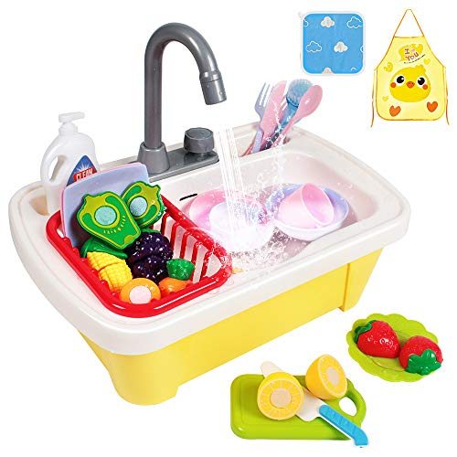 GobiDex 29PCS Color Changing Play Kitchen Sink Toys for Toddlers with Cutting Play FoodsKids Kitchen Dishwasher Toys with Running Water AutoCycle Pretend Role Play Kitchen Sink Toys for Boys Girls