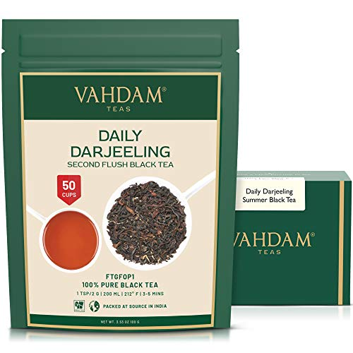 VAHDAM, Darjeeling Tea Leaves from Himalayas (50 Cups), 100% Certified Pure Unblended Darjeeling Black Tea, FTGFOP1 Grade Loose Leaf Tea, Packed & Shipped Direct from Source in India,3.53 Ounce Bag