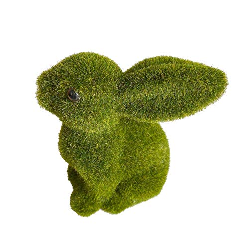 Easter Furry Flocked Bunny, Faux Moss Rabbit Easter Table Décor, Resin Rabbit Holiday Eggs Easter Figure Ornaments Spring Table Garden Decorations Handmade Artificial Turf Grass Animal (C)