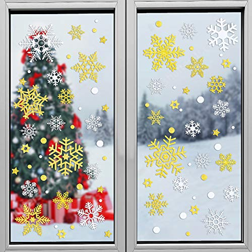 MELLIEX 116 Pezzi Adesivi per Finestra Natalizie, Natale Oro Bianco Fiocchi di Neve Vetrofanie Stickers per Feste di Natale Forniture (8 Fogli)