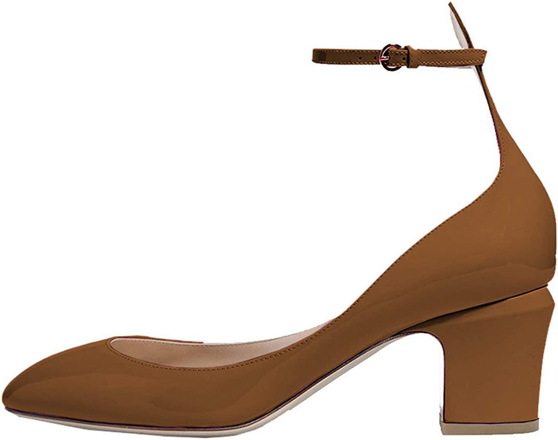 FSJ Ankle Strap Mid Heels Dress Pumps Almond Toe Patent Leather shoes for Women Size 4-15 US