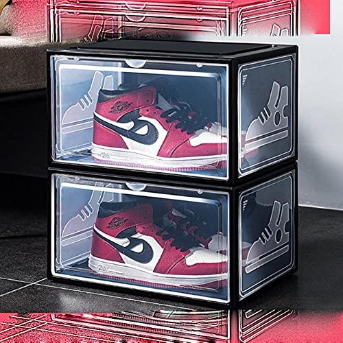 2 cajas de zapatillas de deporte deslizantes de plástico caja de zapatos apilable, caja de almacenamiento desmontable a prueba de polvo, organizador negro 2 piezas, Polonia