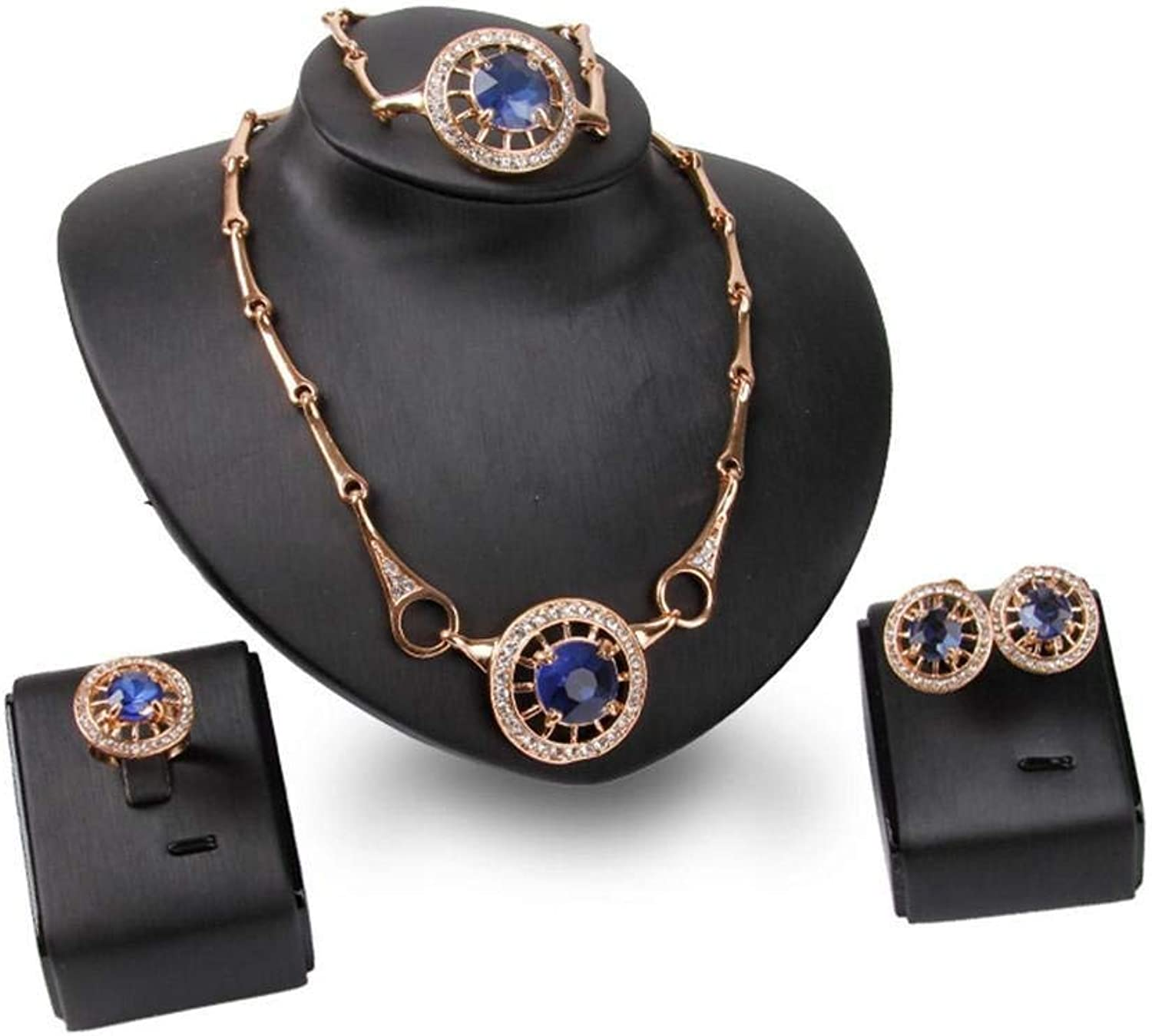 Rhinestone Necklace The Grade Alloy FourPiece Necklace Earrings Set by Enking
