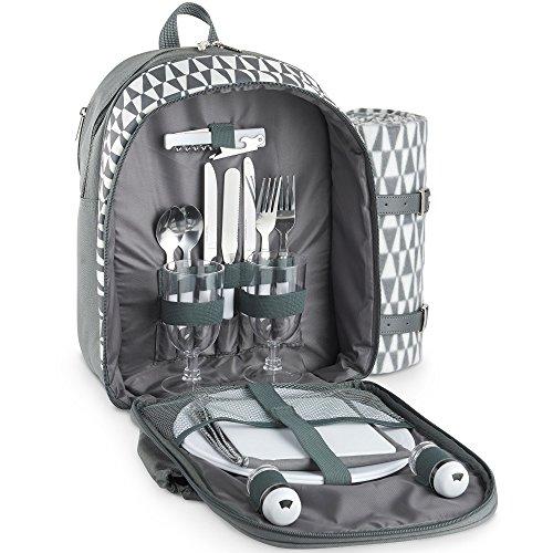 VonShef 2 Personen Picknickrucksäck mit Decke, Besteck und Kühlfach - Geo Grau