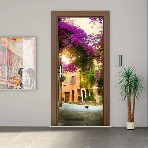 YPXXPY Türaufkleber Landschaft Gadren Haus Wasserdicht Wohnzimmer Schlafzimmer Tür Tapete Selbstklebende Kunst Wandtattoos Dekor