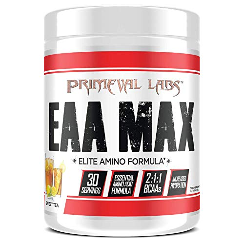 Primeval Labs EAA Max, Essential Amino Acids Supplement Powder, BCAAs, EAAs, Electrolytes, Enhance Performance, Support Hydration, Improve Muscle Recovery, Keto Friendly, Sweet Tea, 30 Servings