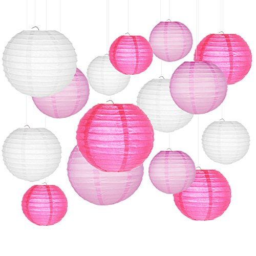 Paper Lanterns, SMALUCK 15 Packs 6' 8' 10' Chinese Round Lantern Paper Hanging Decorations with Assorted Colors and Sizes for Birthday Bridal Wedding Baby Shower Festival Party Decorations