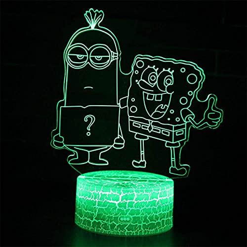 Bob Esponja Despicable Me Minions Modelo 3D LED Luz de noche Creativa 16 Colores Lámpara Táctil Remoto Lámpara de Mesa Niño Bebé Dormitorio Sueño Ilusión Escritorio Lámpara Cumpleaños