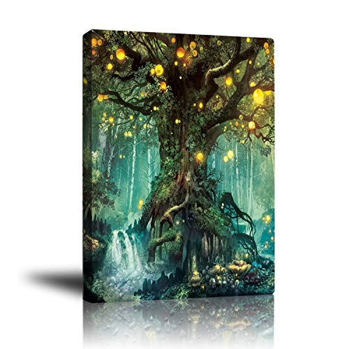 Abstract Psychedelic Bohemian Canvas Pictures for Living Room Wall Art Decoration-Prints Fantasy Forest Tree Oil Painting Posters Artwork-Modern Framed Home Decor for Bathroom Bedroom 16x20 Inch
