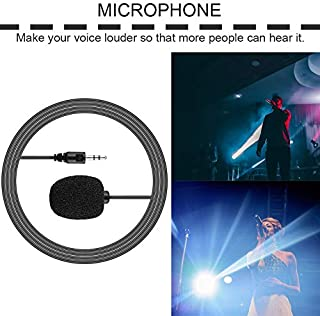 Peoyebo Portátil Externo 3.5mm Manos Libres Mini Cable con Cable Clip Solapa micrófono de Solapa para PC portátil Lound Speaker
