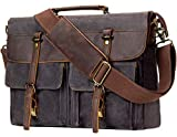 emissary Messenger Bag 15.6'' Laptop Bag Waterproof Waxed Canvas and Leather Messenger Bag for Men or Women Satchel Bag Briefcase Grey