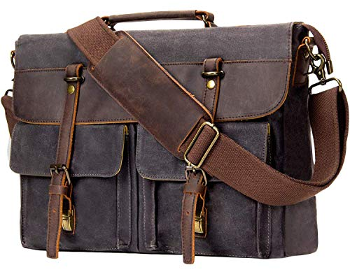 HIIGH QUALITY THAT YOU WILL LOVE - The emissary messenger laptop bag is made from a high quality waterproof waxed canvas and premium genuine leather accents. Heavy duty metal zippers for every day use. LOTS OF POCKETS FOR ALL OF YOUR NEEDS - The emis...