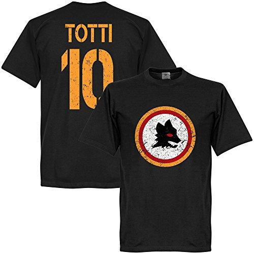 Rom Vintage Wappen mit Totti 10 T-Shirt - schwarz - XL