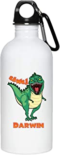 Weezag Darwin Dinosaur Rawr T-Rex Custom Personalized Name Stainless Steel Water Bottle, Boys Dinosaur Birthday Gifts Party Supplies 9241