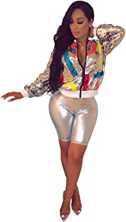 ThusFar Womens Sexy Sequin Bomber Jackets - Lightweight Zip Up Blazer Cropped Jacket for Fall Silver