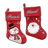 Nikolausstiefel mit namen, Bestickt, Schneemann, Weihnachtsmann Nilolausstrumpf Weihnachten Geschenk
