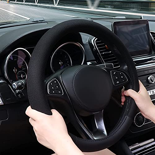SZUAH 15 Inch Steering Wheel Cover with Breathable Viscose and Microfiber Leather, Odorless Anti-Slip Car Steering Wheel Protector Compatible with Most Makes and Models of Cars and Trucks, Black