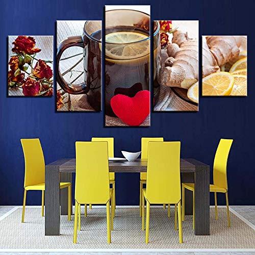 Hllhpc schilderij voor keuken, muur, kunst, fruit, gember, citroen, thee, HD-posters, foto's, ontvangst, restaurant, decoratieve lijst (30 x 40 x 60 x 80 cm)